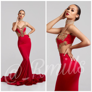 2019 New Sexy Prom Dresses Sirena Spalline Oro Pizzo Backless Bead Spaccato Lati Formale Evening Party Gown