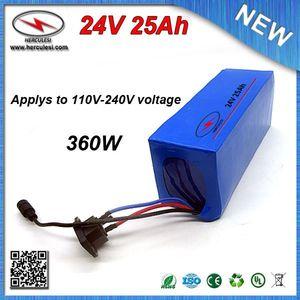 Глубокий цикл 24V электрический двигатель велосипед батареи 24V 25ah мотор Bafang литиевая батарея 18650 24V 25Ah с ПВХ случае 15A BMS + зарядное устройство
