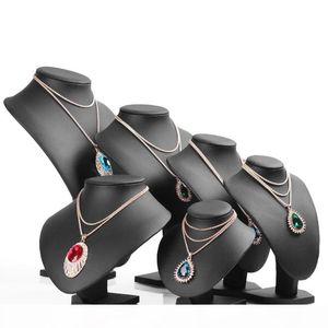 Negro PU cuero modela cuello estante colgante, collar de joyería titular del maniquí del busto del soporte de exhibición Mostrar Almacenamiento