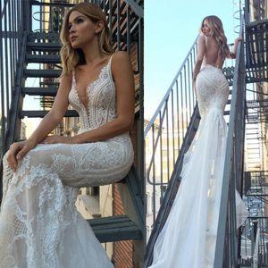Sexy New Pallas Couture Русалка Свадебное платье 2019 Backless Vestidos De Novia Кружева Свадебные платья для венчания пляжа