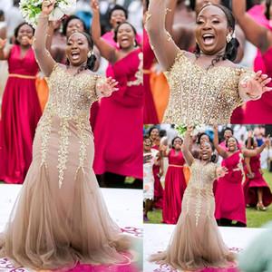 Roben de Kaftan Abaya dubai Mermaid Abendkleid mit Perlen verziert O Ansatz lange Hülsen-formale Partei-Abend-Berühmtheit Tüll Ballkleider Kleider