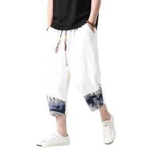 Streetwear Men Chinese Style Summer Casual Pants Mens 2020 Cotton Linen Loose Trousers Male Oversized Calf-Length Pants