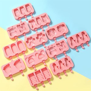 Silikon-Karikatur Popsicle Form Eis Form DIY Schnee Kuchenform Sommer Eis Selbstgemachtes Eis Werkzeuge T9I00321