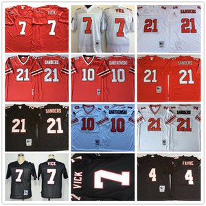 Vintage Fútbol 7 Michael Vick Jersey 4 Brett Favre 21 Deion Sanders 10 Steve Bartkowski Negro Rojo Blanco