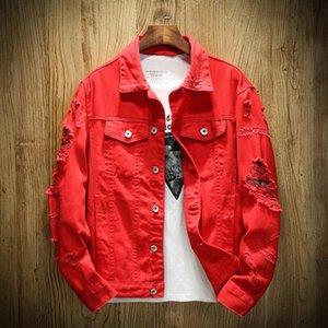 Yeni Tasarımcı Denim Ceket Erkekler Tişörtü Yırtık Delikler hip hop ceket kadınlar Pembe Jean ceketler Yeni Marka Konfeksiyon Erkek Denim cüppe Yıkanmış