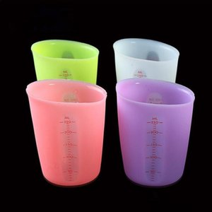 Candy Цвет Измерение Чашки Силиконовые двухмасштабных Измерительные инструменты Экологичный Силикон Milk Cup Cake Tools Camp Kitchen дозирующих чашка C817