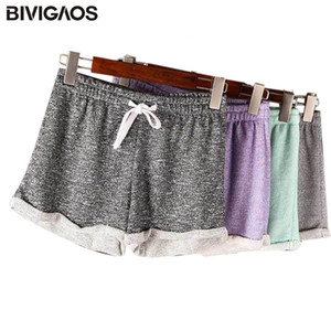 BIVIGAOS estate delle donne allentate casuali shorts con coulisse ampio gamba corta in poliestere Terry Pantaloncini Feminino casa confortevole per le donne
