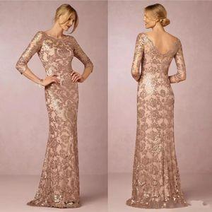 Luxo Rose Gold Mãe da Noiva Vestidos Jóia 1/2 Lace Lace Appliques Lantejoulas Comprimento do Assoalho V Vestido De Festa Vestido Vestidos De Prom