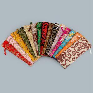 Allonger riche tissu de fleur Sac à cordonnet chinois brocart de soie Bijoux Collier cadeau Pouch Ox Horns peigne Trinket stockage poches RRA1834