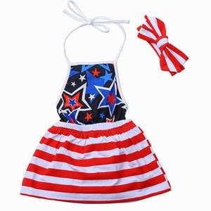 Filles rayée étoiles American Independence Day Robes Vêtements pour enfants Designer filles Tenues bébé Quatrième Juillet Sling Robe 060416