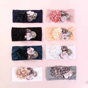Nettes Baby Kleinkind Bunny Rabbit Bow Knot Turban Splice Seidenblumen Stirnband Haarband Headwrap Mädchen Kinder Pretty Novel Headwears L