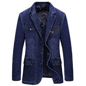 Men Denim Blazer Jacket Spring Fashion Cotton Casual Suit Jackets Male Slim Fat Coat Blazer Men Masculino 3XL BF805