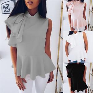Ärmel Tops Frauen Mode-Sommer-Chiffon- Hemddamen beiläufige Rüschen Tops und Bluse Büroarbeitskleidung der Frauen