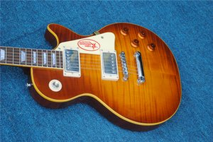 Classic 59 tiger flame electric guitar,High quality solid mahogany guitar,Chrome hardware,free shipping ,Custom