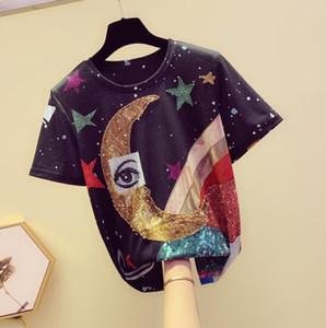 Summer Short Sleeve Tee Shirt 2020 Korean New O Collar Beading Crystal Eye Star Printing Matchwork Patterns T-shirt Tshirt Student Tops w503