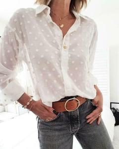 Mode féminine Hauts et blouses à manches longues blanc élégant OL shirt femme pois femme nuisette blusa feminina Streetwear Imprimer