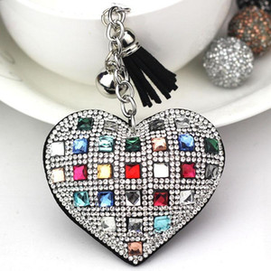 Forma de moda Keychain Coração Feminino completa grânulos de vidro Key capas de couro Mosaic franjada Chaveiro Titular da chave do carro Anel Cap presente