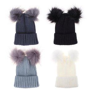 Çocuklar Kış Sıcak Örme Şapka Kız Tığ Beanie Ponpon Cap Çocuk Çift Top Kürk Şapka Skullies Sevimli Boy Çift Hairball Caps