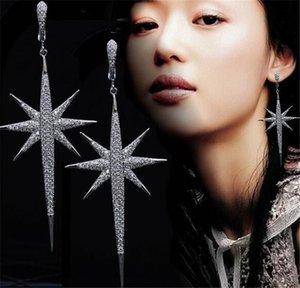 Européen et américain créatif longue étoile riz mot oreille ongles exagération féminine boucles d'oreilles zircon accessoires