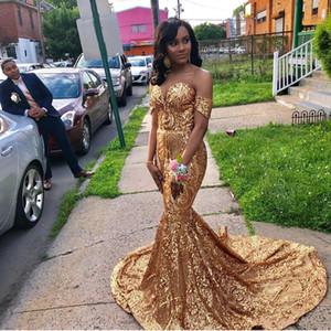 Gold Lace Mermaid Long African Prom Dresses 2019 New Off Sweep Sweep Straw Senza maniche Senza maniche Abiti da festa formale Personalizzato Made Plus Size