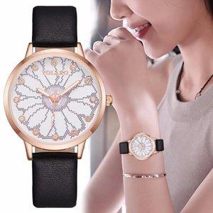 Leather Ladies Watch Rhinestone Horloges Vrouwen Crystal Band Fashion Women Bracelet Wristwatch Luminous Casual Montre Femme