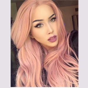 Nuovi europei e americani parrucche capelli lunghi volume di onda grande macchia soffici capelli ricci lunghi Harajuku parrucca rosa set ladies