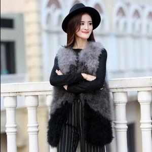 2018 nuevas mujeres forman a otoño invierno 100% plumas de avestruz natural de pavo chaleco de piel chaleco de piel femenina sin mangas Chalecos