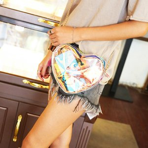 2020 New Laser Heart Shape Transparent Shoulder Bag Women's Cell-phone Messenger Bag Lovely Young Women Chain Crossbody Bags