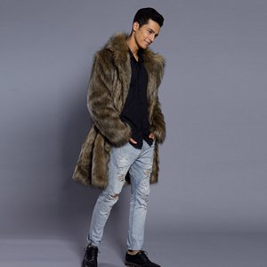 Mens Jacket Coat Warm Winter Thick Overcoat Coat Jacket Faux Fur Parka Outwear Cardigan Fashion Men Clothing Plus Size Poxcu