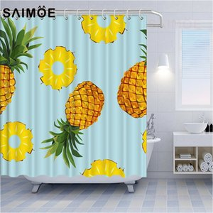 Summer Fruit Shower Curtains Yellow Pineapple Bathroom Shower Curtain Decoration Tropical Plant Fruit Waterproof Bath Curtain Polyester