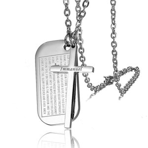 Площадь Религиозных нержавеющей стали 316L Геометрическая и Крест Holy Bible Двойной Подвеска Ожерелье Мужчины Женщина Молитва Jewelry армия