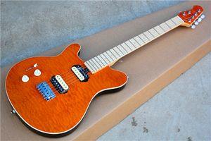 공장 오렌지 왼손 일렉트릭 기타와 구름 메이플 베니어, HH 픽업, Chrome Hardwares, 22 Frets는 맞춤 설정할 수 있습니다.