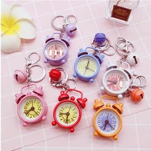 Bonito Alarme Mini Relógio Keychain dos desenhos animados Chaveiro pequeno relógio Keychain Presente criativo pingente de casal Chaveiro Adorável Bag Acessórios 6 cores