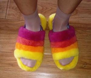 Fluff Yeah Slide Neon Yellow Blue Furry Warmer Slipper Pantoufles de Luxury Designer Women Sandals Pantoufle Women's Fur Slipper Hausschuhe