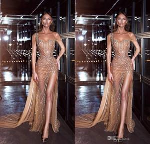 Sexy Major бисероплетение платья выпускного вечера одно плечо бисер кристаллы See Through знаменитости вечернее платье высокая сторона Сплит вечерние платья халаты de soiree
