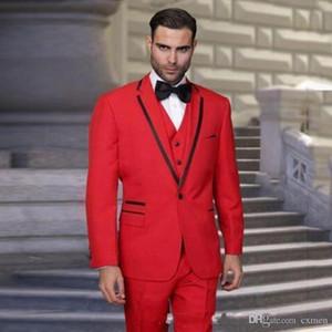 Сшитое Red Мужские костюмы для венчания Groom Tuxedos 3 шт Jackt штаны Жилет одна кнопка Зубчатый отворот Terno шафером Мужчина для Blazer