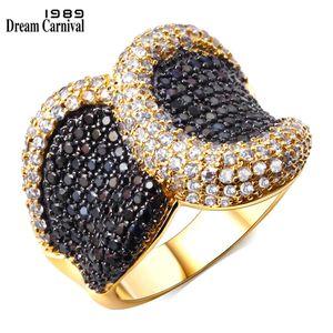Dreamcarnival1989 Colore oro caldo grande anello punk per le donne 2 toni CZ Deluxe gioielli ipoallergenico Anillos Mujer Bagues SJ09967 C18122501