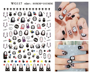 핫 판매 네일 아트 새로운 디자인 할로윈 플라스틱 스티커 호박 네일 스티커 악마 해골 네일 스티커 WG117-122