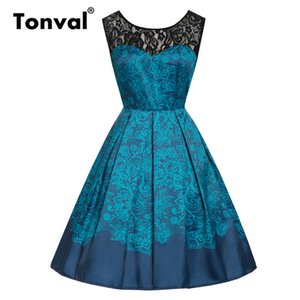 Tonval Mavi Çiçek Baskı Kontrast Dantel Sevgiliye Vintage Elbise Kadınlar Backless Parti Pileli Rockabilly Yaz Elbiseler