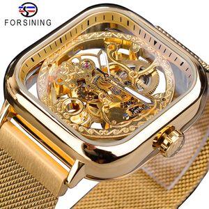 Forsining or Hommes automatique montre carrée Skeleton Mesh Steel Band mécanique d'affaires Horloge Relogio Masculino Erkek Kol Saati