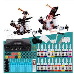 Kit Professionnel TATTOO 2 Tattoo Mitraillettes Set corps permanent alimentation LCD Set encres Art Tattoo Complete Set