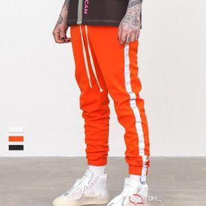 Crazy2019 남자를위한 반사 측면 스트라이프 조깅 바지 Dishy 슬림 맞는 대비 컬러 스포츠 바지 힙합 Streetwear 캐주얼 바지 JZH0620