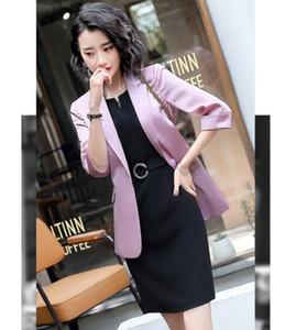 Nova 2020 Blazer Pink Ladies para Suits Mulheres de vestido Senhoras vestido e Conjuntos Jacket Work Wear roupas de negócios meia luva