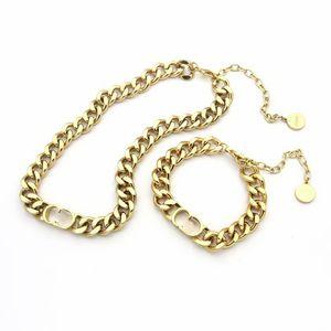 designer necklace Fashion Jewelry Sets Women Titanium steel real 14k gold Thick Chain Necklaces Bracelets Letter Pendant