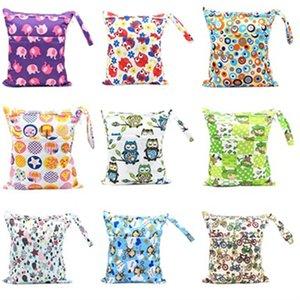 아기 기저귀 저장 가방 방수 30 * 36cm 만화 인쇄 다채로운 아기 더블 지퍼 기저귀 가방 세탁 가능한 누출 방지 기저귀 가방