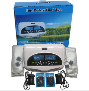 2020 New Dual Detox Machine Ion Cleansing Machine Detox Foot Spa Two LCD Screen With Massage Acupuncture Pads Slice Wrist Belt