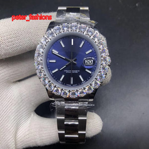 Prong Set Diamond Watch Automatique Hommes Argent Acier inoxydable Montre homme cadran bleu Top Fashion Hot Tendance Montre
