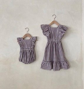 2020 Summer Baby Girl Plaid Cotton Fashion Clothes Toddler Newborn Casual Princess Flying Sleeve Dresses Little Kids Dress