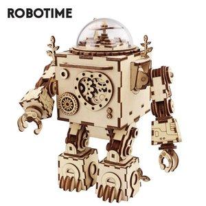 Robotime DIY Steampunk Robot Music Box 3D Puzzle de madeira Musical Brinquedos Assembléia modelo de construção Kit AM601