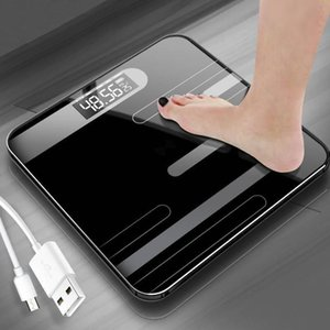 Floor Scales Bathroom Body Fat Scale USB Charging Glass Smart Electronic Digital Scales Weight Balance Bariatric LCD Display Y200106